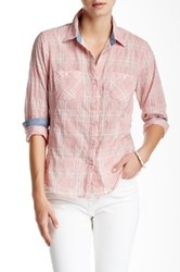 Sandra Ingrish Two Pocket Plaid Button Down Petite Pink