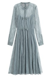 Valentino Silk Dress With Lace Blue