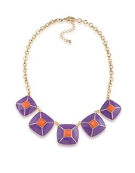 1St And Gorgeous Enamel Pyramid Pendant Statement Necklace In Purple Orange Gold