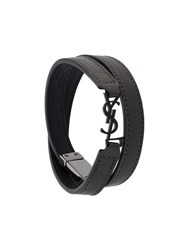 Saint Laurent 'Monogram' Double Wrap Bracelet Grey
