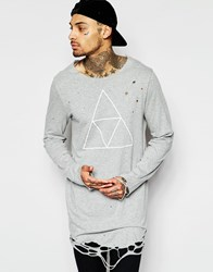Asos Super Longline T Shirt With Triangle Print And Raw Edge Finish Grey