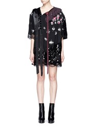 Marc Jacobs Crochet Collar Sequin Lace Patchwork Jacquard Dress Black Multi Colour