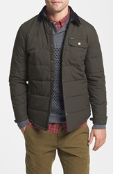 Brixton 'Cass' Quilted Shirt Jacket With Corduroy Collar Black Black