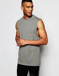 Asos Longline Sleeveless T Shirt With Lace Up Detail Grey