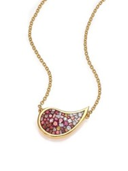 Pleve Raspberry Ombre Diamond And 18K Yellow Gold Medium Scorpio Pendant Necklace Gold Ruby