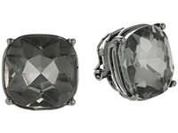 Lauren Ralph Lauren Hide And Chic Faceted Stone Clip Earrings Black Diamond Hematite Earring Green