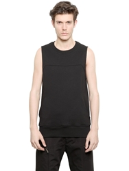Gareth Pugh Cotton Fleece Sleeveless Sweatshirt Black