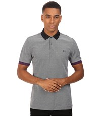 Fred Perry Color Block Pique Shirt Black Oxford Men's Short Sleeve Knit