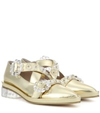 Simone Rocha Embellished Metallic Leather Pumps Gold