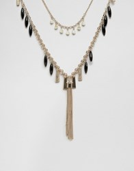 Oasis Ribbon And Tassle Drop Necklace Black
