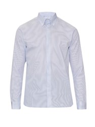 Mathieu Jerome Button Cuff Button Down Collar Cotton Shirt Blue
