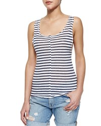 Frame Le Muscle Tank With Stripes White Navy