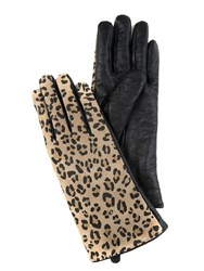 Jane Norman Leather Leopard Gloves Brown