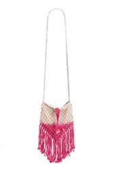 Street Level Ombre Crochet Crossbody Bag Pink