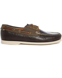 Polo Ralph Lauren Bienne Ii Two Tone Brown Leather Canvas Boat Shoes