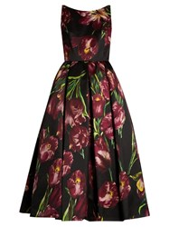 Dolce And Gabbana Tulip Print Sleeveless Duchess Silk Satin Gown Black Print