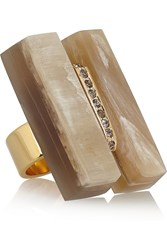 Marni Gold Plated Horn And Crystal Ring Nude