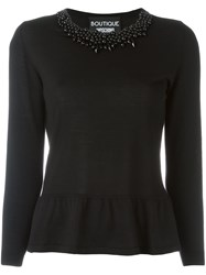 Boutique Moschino Ruffle Hem Sweater Black
