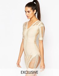 Wow Couture Bandage Body Conscious Dress With Ladder Detail Taupe