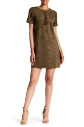 Daniel Rainn Short Sleeve Lace Up Faux Suede Dress Green