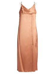 Edun V Neck Satin Twill Midi Slip Dress Light Pink