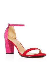Stuart Weitzman Nearlynude Color Block Ankle Strap High Heel Sandals 100 Bloomingdale's Exclusive Red