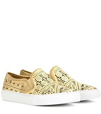 Tory Burch Roselle Perforated Metallic Leather Slip On Sneakers Gold