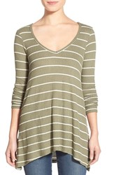 Junior Women's Living Doll Stripe V Neck High Low Thermal Shirt