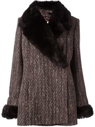 Celine Vintage Removable Faux Fur Collar Coat Brown