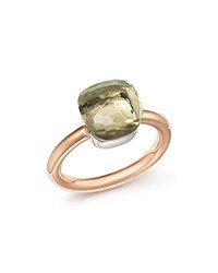 Pomellato Nudo Classic Ring With Prasiolite In 18K Rose And White Gold Green Rose