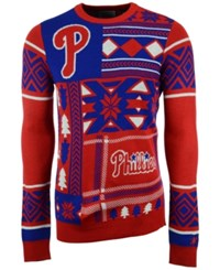 Forever Collectibles Men's Philadelphia Phillies Patches Christmas Sweater Red Royalblue White