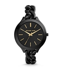 Michael Kors Slim Runway Shiny Black Chain Link Watch