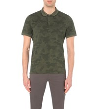 Michael Kors Camouflage Patterned Cotton Polo Shirt Fatigue Green