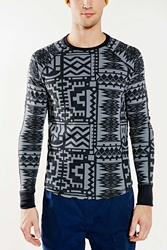 Without Walls Black Pictograph Long Sleeve Thermal Top Black And White