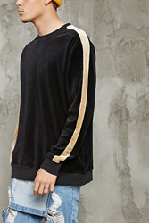 Forever 21 Velour Stripe Sleeve Sweatshirt Black Gold