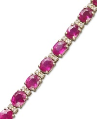 Effy Collection Gemma By Effy Ruby 12 Ct. T.W. And Diamond 1 4 Ct. T.W. Tennis Bracelet In 14K Gold