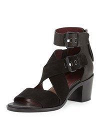 Rag And Bone Madrid City Suede Leather Crisscross Sandal Black
