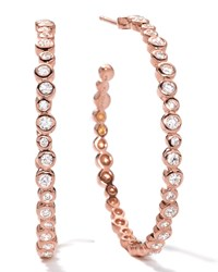 18K Rose Gold Starlet 3 Hoop Earrings In Diamonds Ippolita Pink