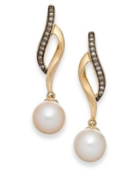 Macy's Cultured Freshwater Pearl 8Mm And Champagne Diamond 1 10 Ct. T.W. Earrings In 14K Gold