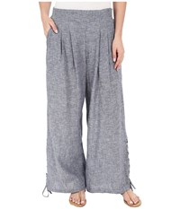 Miraclebody Jeans Lil Cropped Wide Leg Pull On Pants Indigo Blue Women's Casual Pants