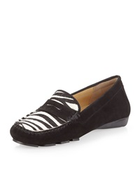 Neiman Marcus Robyn Suede Zebra Print Moccasin 7 1 2