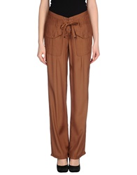 High Casual Pants Brown
