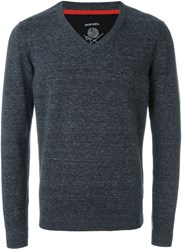 Diesel Classic Casual V Neck Grey