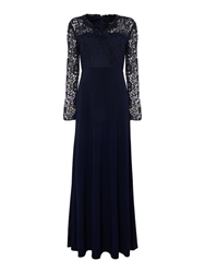 Js Collections 3 4 Sleeve Guipure Lace Gown Navy