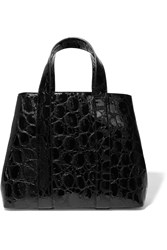 Alaia Croc Effect Patent Leather Tote Black