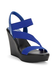 Charles By Charles David Patty Platform Wedges Electric Blue