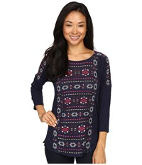 Lucky Brand Geo Embroidered Top American Navy Women's Clothing