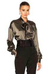 Alexandre Vauthier Satin Blouse In Green
