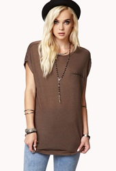 Forever 21 Stud And Zipper Trimmed Tee Cocoa Gunmetal