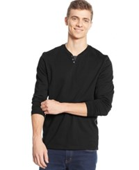 Alfani Big And Tall Long Sleeve Split Crewneck T Shirt Deep Black